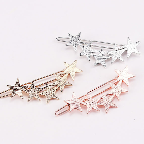 1PC New Fashion Alloy Stars Barrettes Women Vintage Hair Clips Silver Gold Hairpins