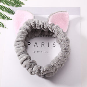 Women Girls Cute Coral Fleece Cat Ears Elastic Headbands Soft Comfortable Wash Face Bath Hairbands