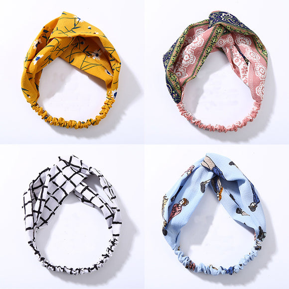 Fashion Women Knot Cloth Bandanas Print Striped Plaid Elastic Headbands Girls Head Wrap Hairbands