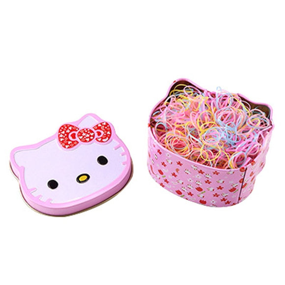 Gift Box Packed About 700PCS Kids Disposable Colorful Elastic Hair Bands Cute Hair Bands