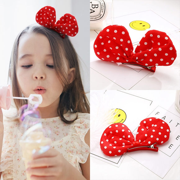 New Cut White Dot Red Bow Girls Hair Clips Fashion Kids Hairpins