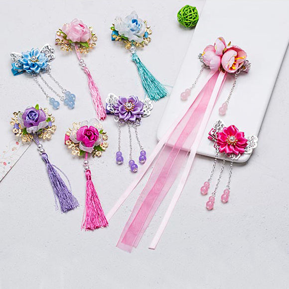 2018 New Chinese Style Flower Butterfly Tassels Cute Girls Hairpins