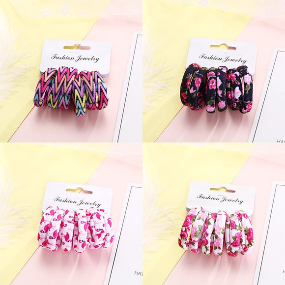 6PCS/Pack New Cotton Print Hair Ropes Elastic Headbands Elegant Hair Bands
