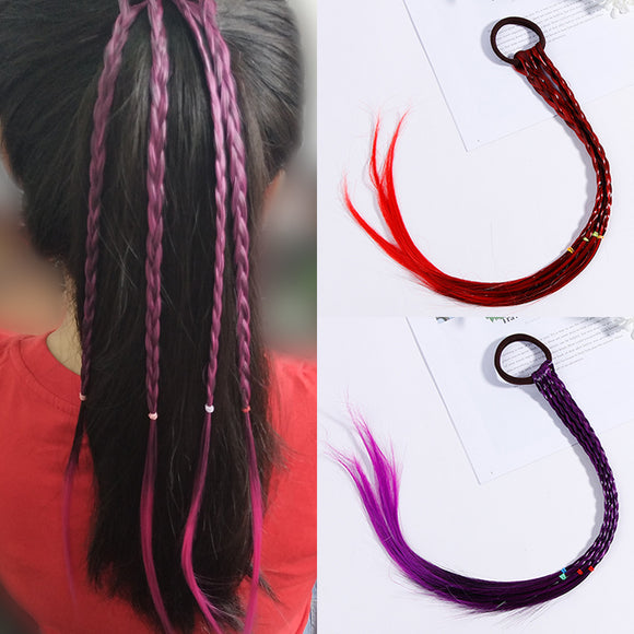 New Girls Colorful Wigs Ponytail Hair Ornament Headbands Rubber Bands Beauty Hair Bands