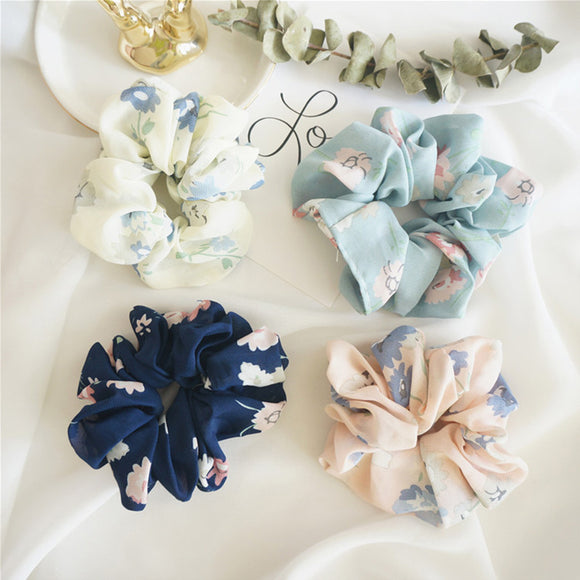 New Women Elegant Print Flower Cloth Elastic Hair Bands Ponytail Holder Scrunchie Rubber Bands