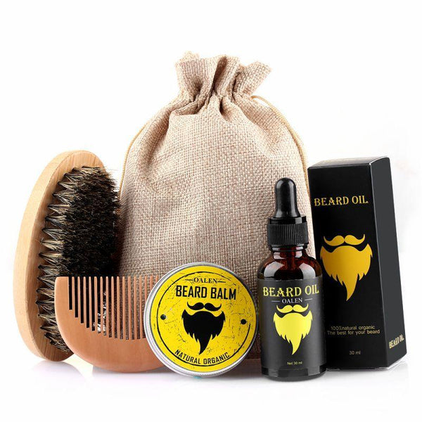 Beard Care & Grooming Kit, Unscented Beard Oil, Beard Balm, Beard Comb, Beard Brush, Storage Bag for Beard Care - Project Lvl