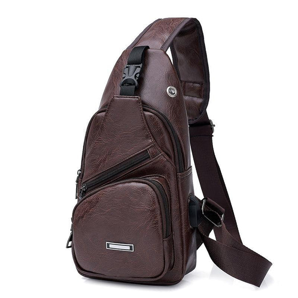 Project Lvl Online Store 100002856 DYZ888 Brown Luxury Cross Messenger Bag with USB Port