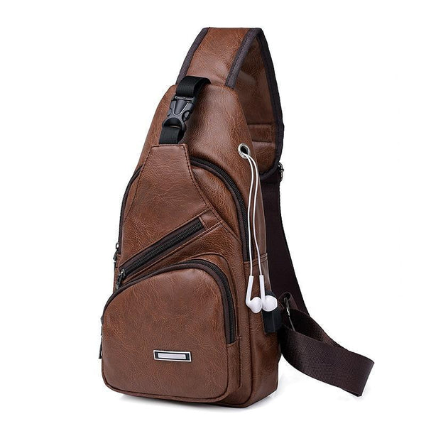 Project Lvl Online Store 100002856 DYZ888 Coffee Luxury Cross Messenger Bag with USB Port