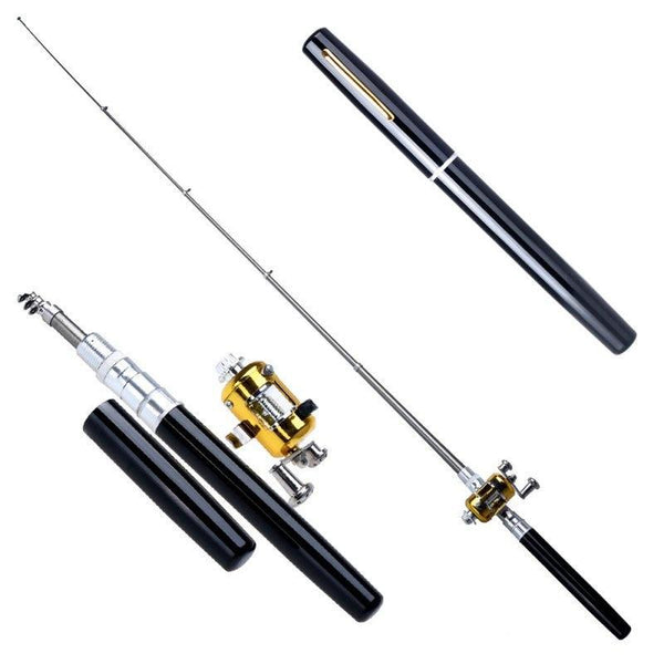 Project Lvl Online Store 100005543 Portable Pocket Telescopic Mini Fishing Rod Pen Shape Folded Fishing Rod With Reel Wheel