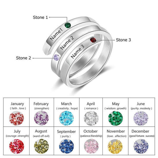 Project Lvl Online Store 100007323 6 / 3 Names-Silver color / China JewelOra Personalized Mothers Rings Custom Name Birthstone Rings for Women Engraved Jewelry Anniversary Gifts for Mom