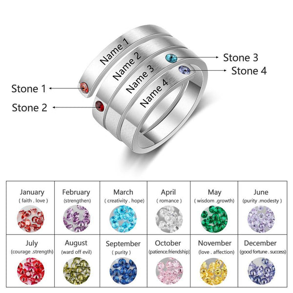 Project Lvl Online Store 100007323 6 / 4 Names-Silver color / China JewelOra Personalized Mothers Rings Custom Name Birthstone Rings for Women Engraved Jewelry Anniversary Gifts for Mom