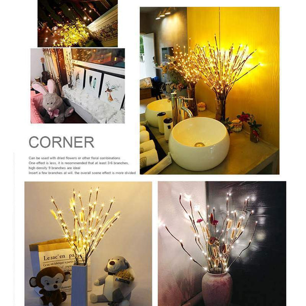 Project Lvl Online Store 150403 Coquimbo 20 Bulbs LED Willow Branch Lamp Battery Powered Natural Tall Vase Filler Willow Twig Lighted Branch For Home Decoration