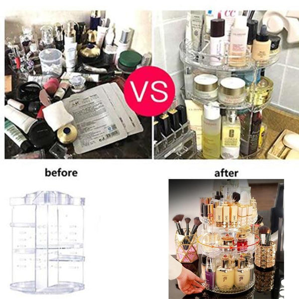 Project Lvl Online Store 154102 Clear 360 Degree Rotating Cosmetic Storage Box Makeup Organizer Cosmetics Storage Rack Fashion Crystal helf Display Stand High Capacit