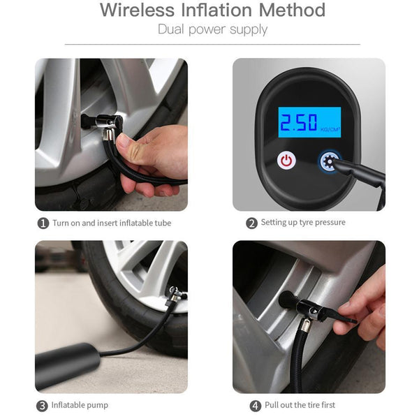 Project Lvl Online Store 200000203 12V Portable Car Air Pumps Electric Tire Inflator car bike bicycle pump Auto Car Wireless Inflatable Pump