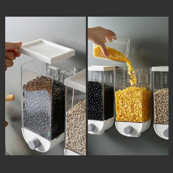 Wall Mounted Press Cereals Dispenser Grain Storage Box Dry Food Container Organizer - Project Lvl Online Store