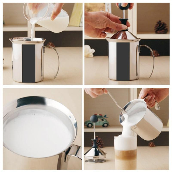 Manual Stainless Milk Frother Coffee Foamer - Project Lvl Online Store