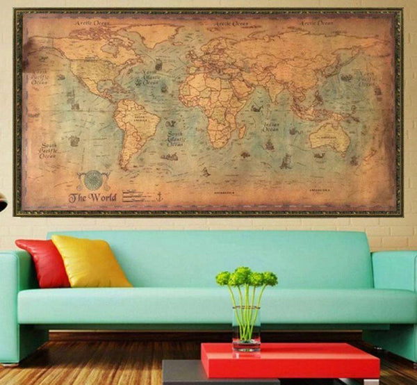 Project Lvl Online Store 2209 Nautical Ocean Sea world map Retro stare Papier Sztuki Malarstwo Home Decor Naklejka Salon Plakat Cafe Antique plakat 100*50cm