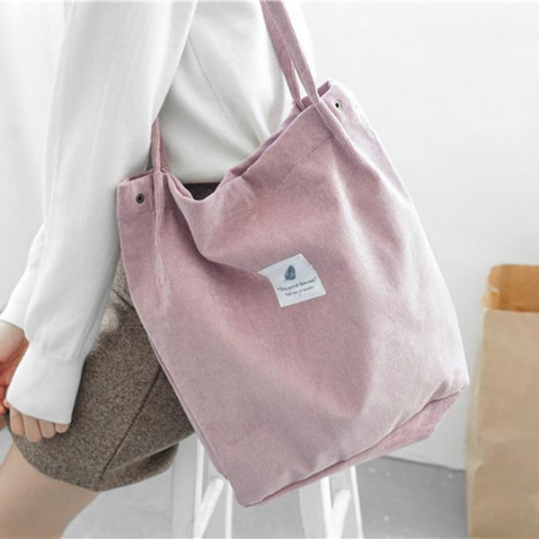 Corduroy Shoulder Bag Shopping Tote Bag Retro Casual Handbags,Girls Bag,Ladies Shoulder Bag - Project Lvl Online Store