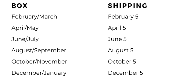 Boxes start shipping on the 5th every other month (e.g. the June/July box starts shipping on/around June 5)