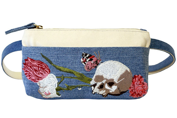 Hipsters for Sisters Skull Embroidered Vintage Denim Pocket Bum Bag