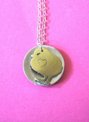 Christy Robinson Secret Go Veg Message Chick Necklace