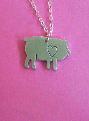 Exclusive Christy Robinson x LOVE GOODLY Mini Pig Necklace with LOVE