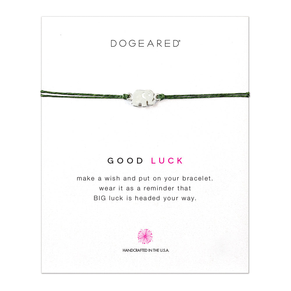 Dogeared Good Luck Elephant Leaf Linen Sterling Silver Bracelet