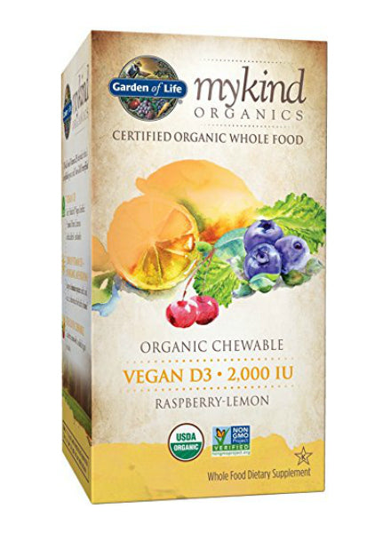 mykind Organics Organic Vegan D3 Chewable Raspberry/Lemon