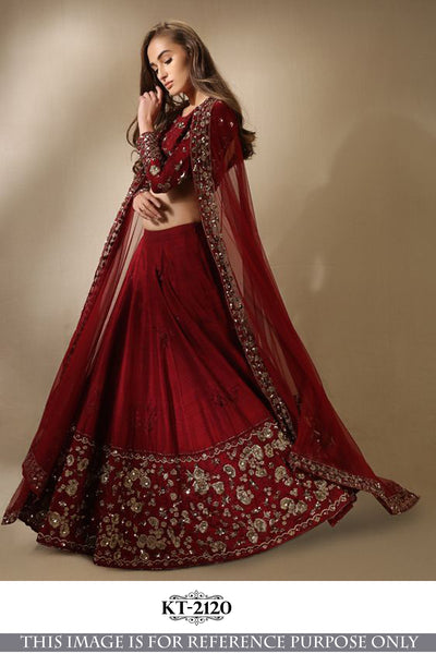 Lehenga cholis Red Color Silk Fabric Multi Embroidery Work