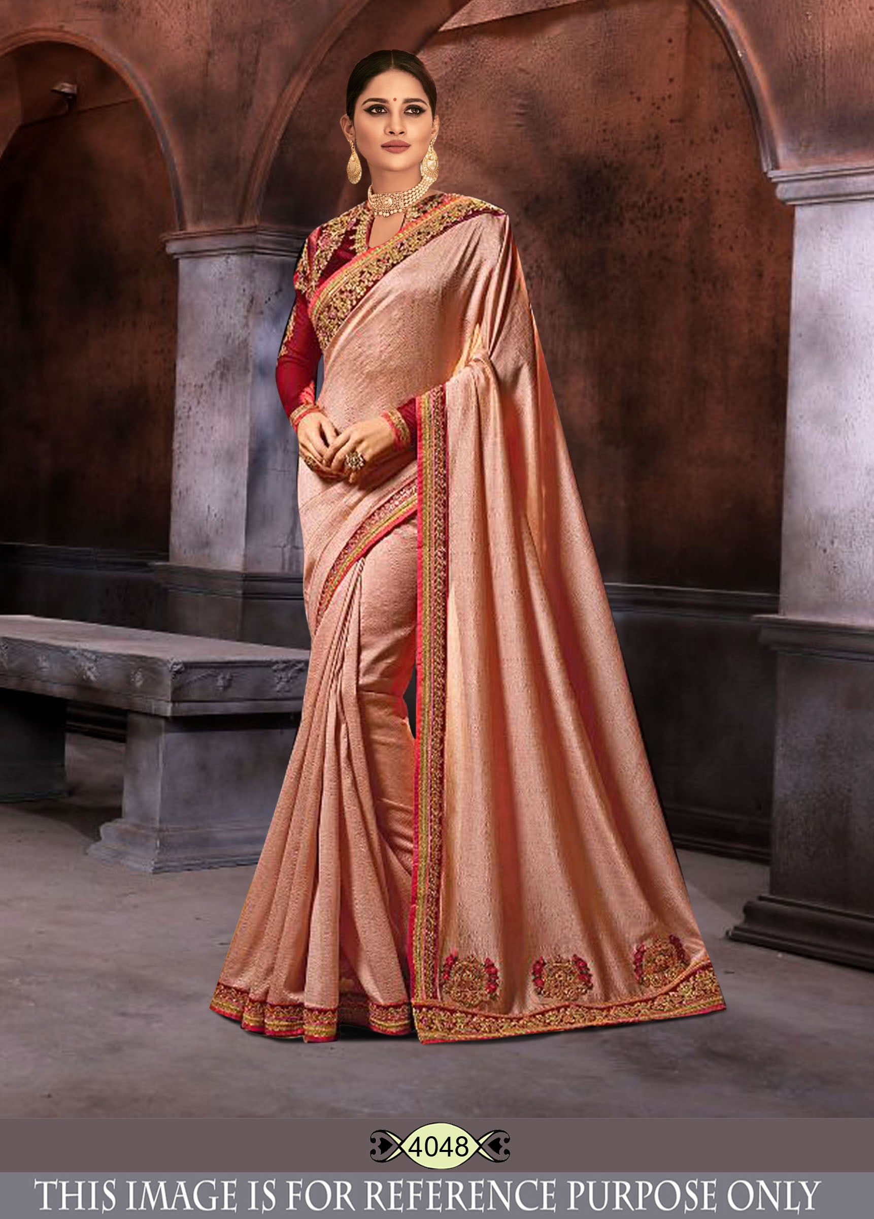 Peach Color Sana Silk Plain Saree