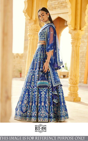 Lehenga cholis Blue Color Silk Fabric Multi Embroidery Work