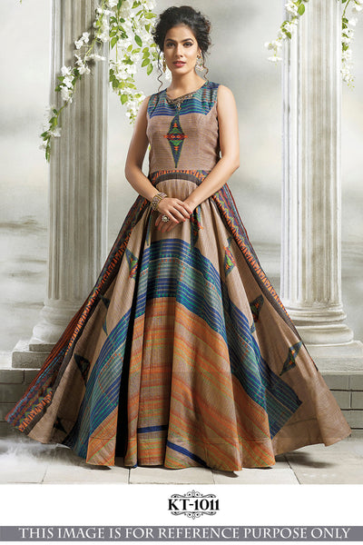 Awesome Latest Bueatiful Designer Fancy Multicolour Gown