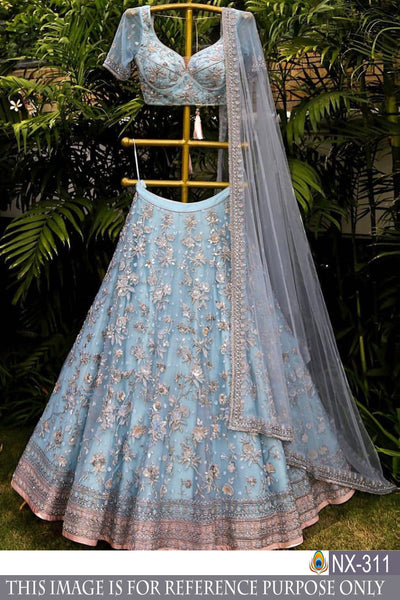SKY-BLUE BUTTERFLY NET DESIGNER EMBROIDERY WORK LEHENGA CHOLI