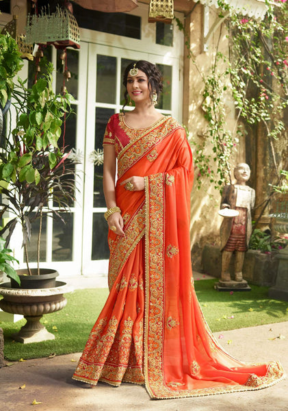 The Most Bright Of All Wearing This Saree In Orange Color