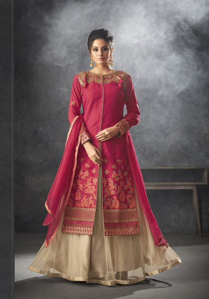 Shine Bright In This Designer Indo-Western Dress In Dark Pink Colored Top