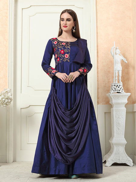 Beautiful Designer Readymade Gown In Navy Blue Color