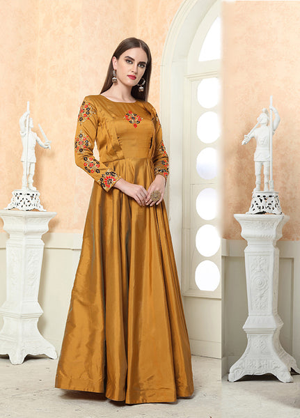 Beautiful Designer Readymade Gown In  Yellow Color