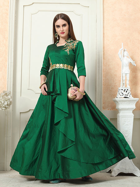 Beautiful Designer Readymade Gown In  Dark Green Color