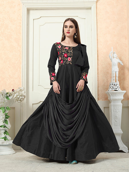 Grab This Beautiful Designer Readymade Gown In Black Color
