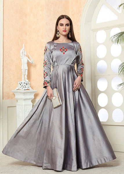 Beautiful Designer Readymade Gown In  Grey Color