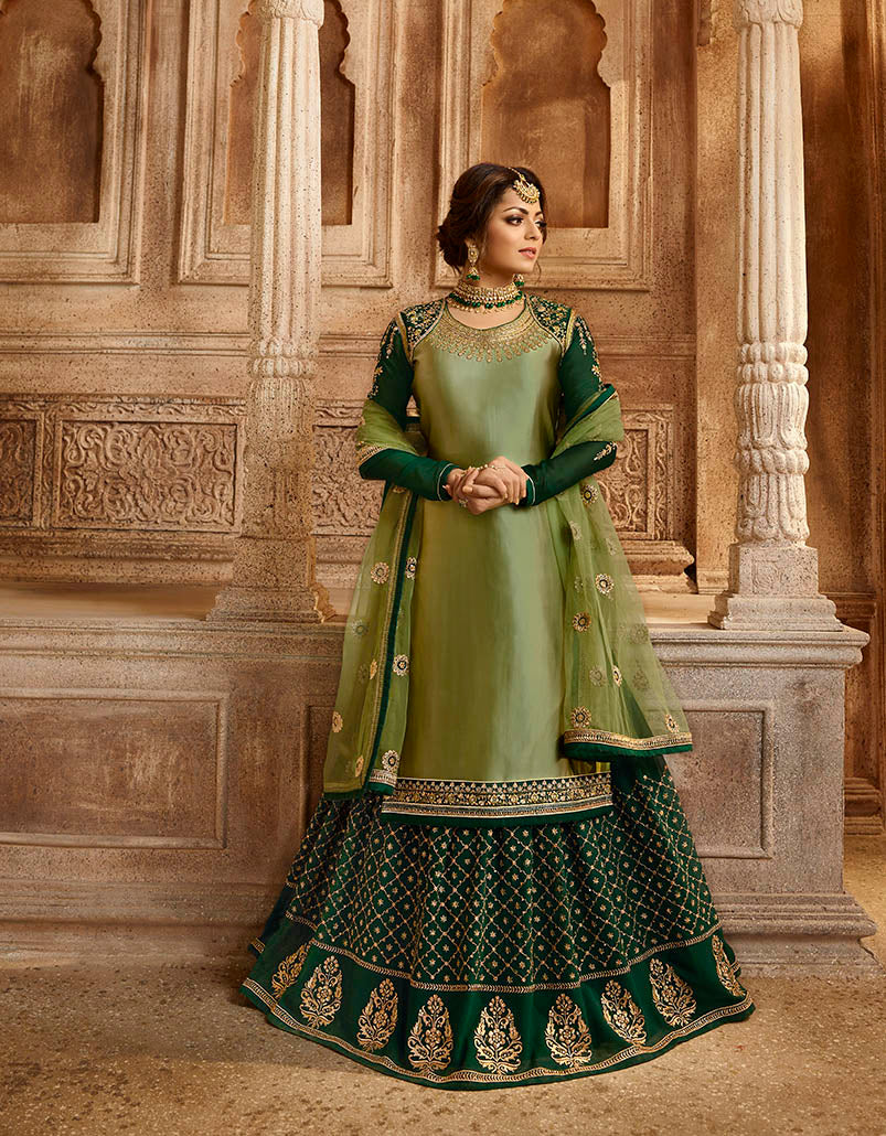 The Pretty Shades Of Green With This Designer Two In One Indo-Western Suit.The Pretty Shades Of Green With This Designer Two In One Indo-Western Suit.