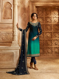 This Designer Two In One Indo-Western Suit In Navy Blue And Blue Shaded Top Paired