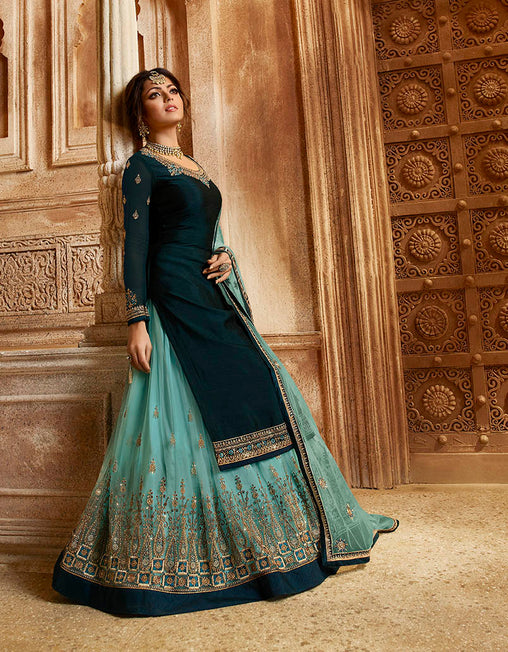 The Pretty Shades Of Blue With This Designer Two In One Indo-Western Suit.