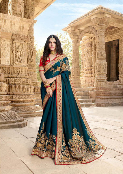 Beautiful Rich And Elegant Looking Designer Saree In Prussian Blue Color