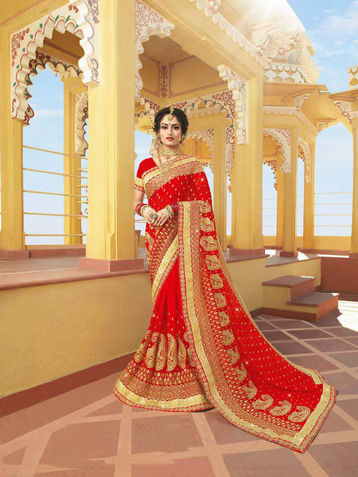 Beauty And Comfort Wearing This Attractive Looking Saree In Red Color Paired With Red Colored Blouse
