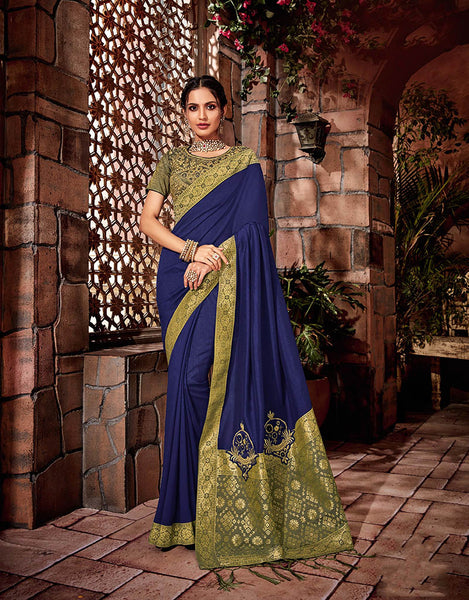 Georgette & Brocade Designer Saree with Unstitched Blouse