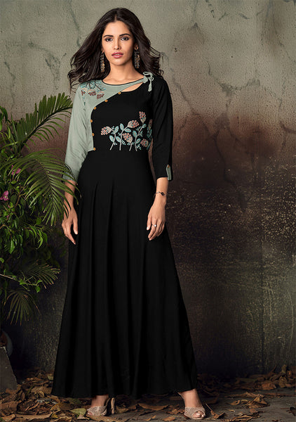 Grab This Designer Readymade Gown In Black Color Fabricated On Rayon