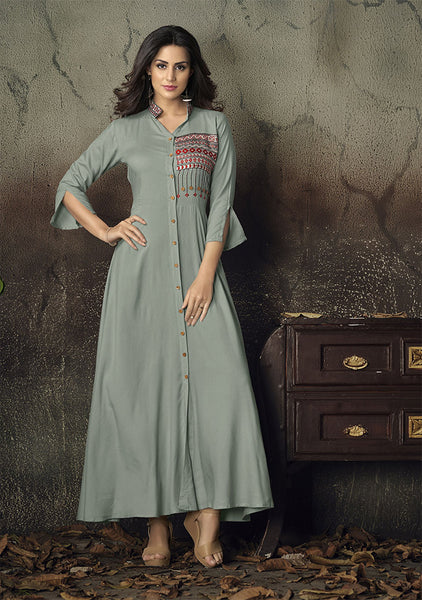 Grab This Designer Readymade Gown In Grey Color Fabricated On Rayon