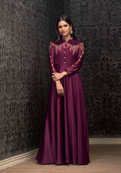 Shine Bright In This Designer Readymade Gown In Wine Color Fabricated On Satin Silk