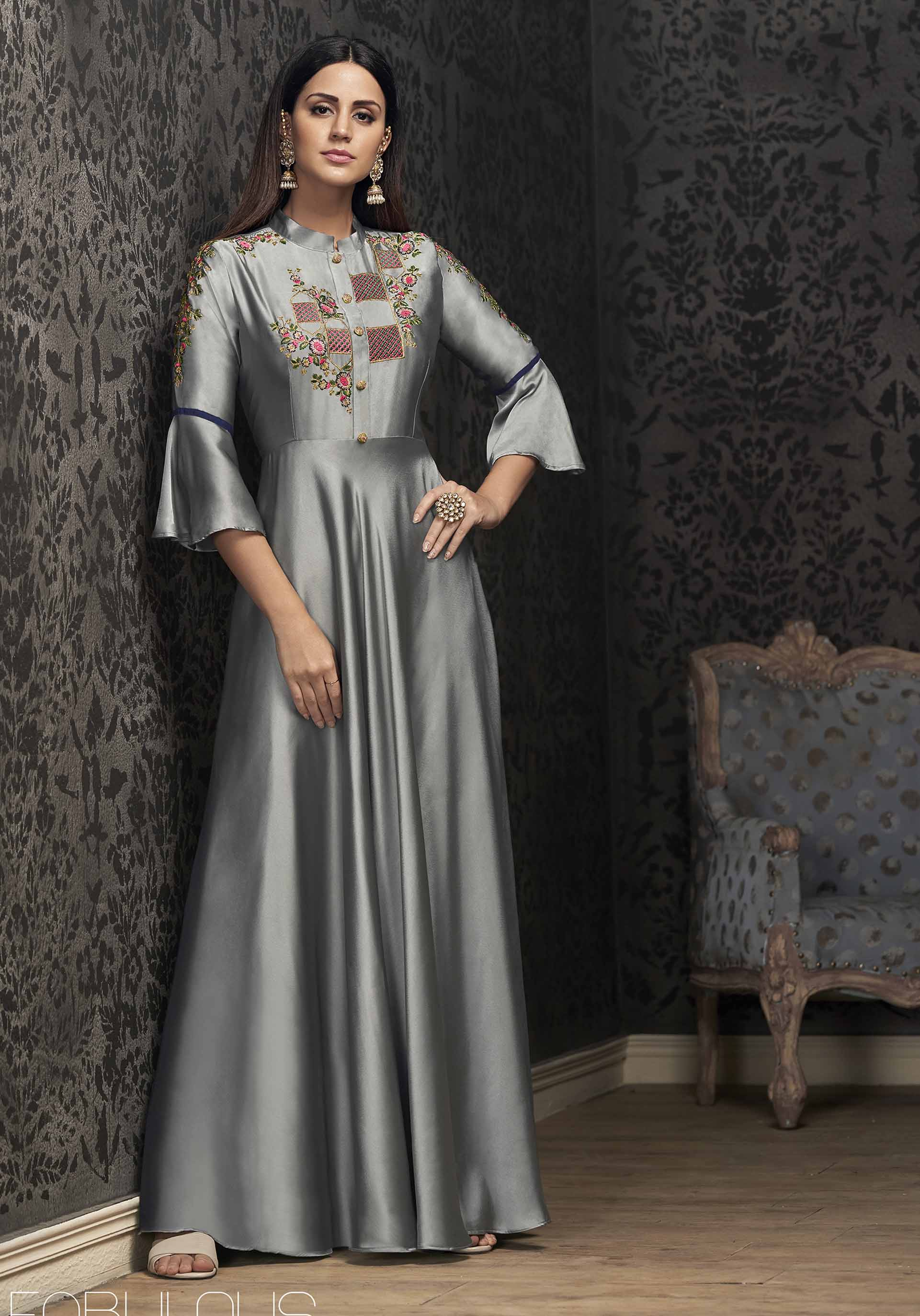 Flaunt Your Rich And Elegant Taste Wearing This Designer Readymade Gown In Grey Color